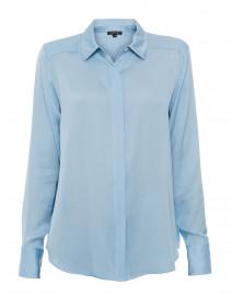 Sky Blue Stretch Silk Button Down Shirt
