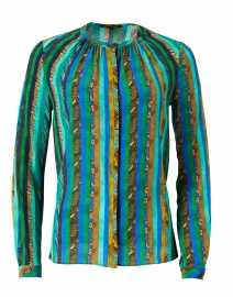 Claire Green Texture Print Silk Blouse