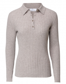 Pepper Beige Ribbed Cashmere Polo Sweater