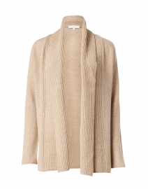 Beige Mixed Gauge Wool and Cashmere Cardigan
