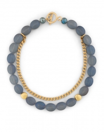 Matte Navy Crystal and Gold Chain Necklace