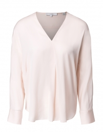 Pale Petal Pink Stretch Silk Blouse