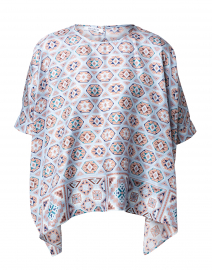 Bella Pale Blue Mosaic Printed Silk Blouse