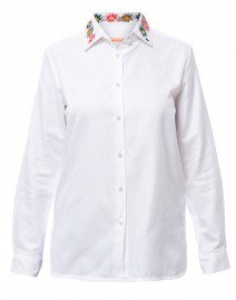 Dover White Embroidered Button Down Cotton Shirt