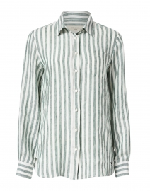 Guinea Green and White Stripe Linen Shirt