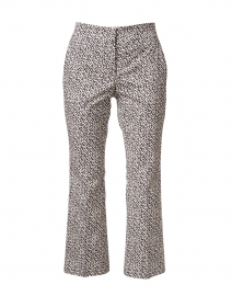 Grey and White Abstract Print Stretch Cotton Cropped Flare Pant