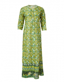 Anu Green and Yellow Lemon Printed Long Cotton Kurta