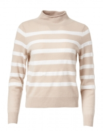 Beige and Ivory Sequin Stripe Cashmere Sweater