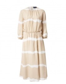 Beige and White Viscose Dress