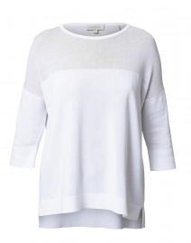 White Boatneck Sweater with Sheer Yoke
