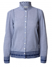 Lisbeth Navy and White Striped Button Down Top