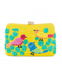 Marissa Yellow Birds Embroidered Minaudiere