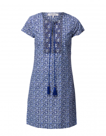 Riley Blue Embroidered Cotton Dress
