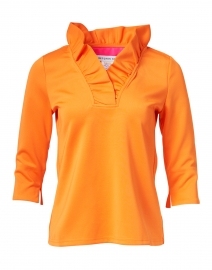 Gretchen Scott - Orange Ruffle Neck Top