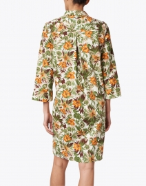 Caliban - Orange and Green Tropical Printed Stretch Cotton Dress