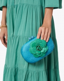 SERPUI - Olive Camelia Turquoise with Green Buntal Minaudiere