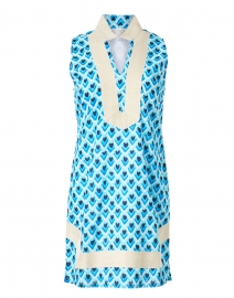 Blue Teardrop Print Cotton Tunic Dress
