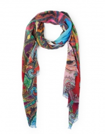 Multicolored Paisley Silk Cashmere Scarf