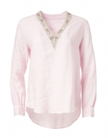 Soft Pink Linen Embellished Shirt