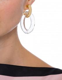 Kenneth Jay Lane - Gold Doorknocker and Clear Hoop Clip Earrings