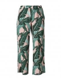 Orietta Green and Pink Palm Leaf Print Silk Wide Leg Pant