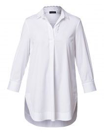 White Henley Stretch Cotton Top