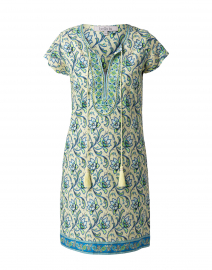 Natalie Pale Yellow and Blue Floral Cotton Dress