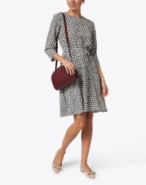 Weekend Max Mara - Fischio Black and White Leaf Print Silk Dress