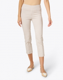 Avenue Montaigne - Brigitte Beige Check Cropped Pull-On Pant