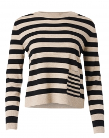 Beige and Black Striped Wool and Cashmere Sweater