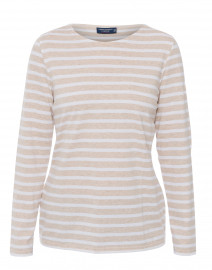 Minquidame Beige and White Striped Cotton Top