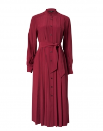 Burgundy Button Up Pleated Shirt Dress