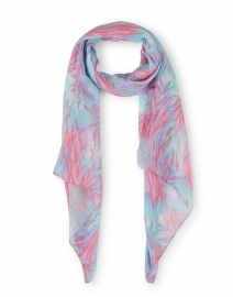 Coral Wispy Tiger Print Modal and Linen Scarf