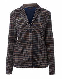 Gavino Navy and Camel Check Jersey Knit Blazer