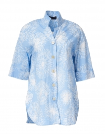 Sky Blue and White Floral Stretch Cotton Shirt