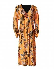 Orange and Black Floral Print Dress