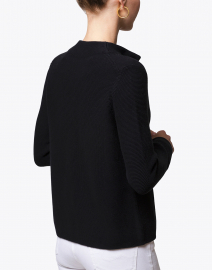 Kinross - Black Garter Stitch Cotton Cardigan