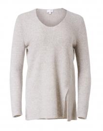 Stone Melange Ribbed Cashmere Tunic Sweater