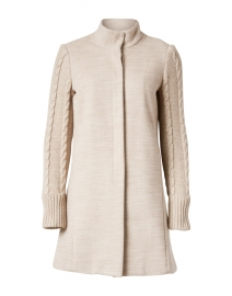 Beige Funnel Neck Button Up Coat