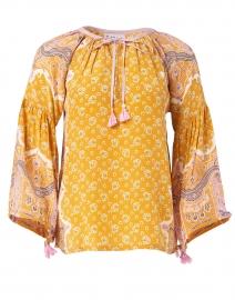 Lena Tangerine Paisley Print Silk Crepe Top
