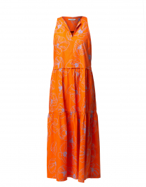 Orange Cotton Floral Dress