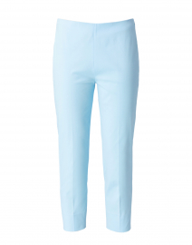 Sky Blue Stretch Cotton Slim Fit Capri Pant