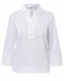 Aileen White Button Back Stretch Poplin Shirt