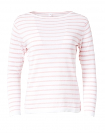 White and Oleander Pink Fine Stripe Boatneck Sweater