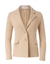 Flauto Beige Sand Pin Stripe Knit Jacket