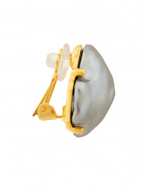 Kenneth Jay Lane - Grey Faux Pearl Clip On Earrings