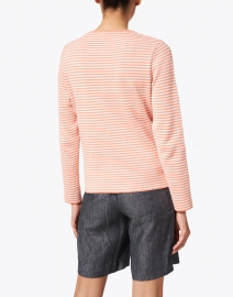 Saint James - Pistoia White and Coral Striped Cotton Cardigan