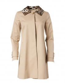 Beige Swing Stretch Cotton Trench Coat