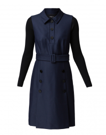 Navy Belted Polo Dress