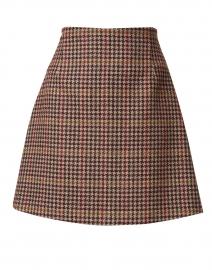 Brama Bordeaux Houndstooth Wool Blend Skirt